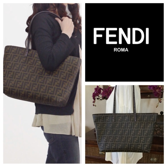 b188507cdeb9 Fendi Handbags - Fendi Zucca Print Coated Canvas Roll Tote